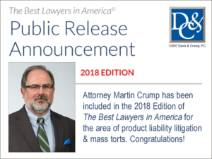 Attorney Martin Crump is included in the 2018 Edition of The Best Lawyers in America.